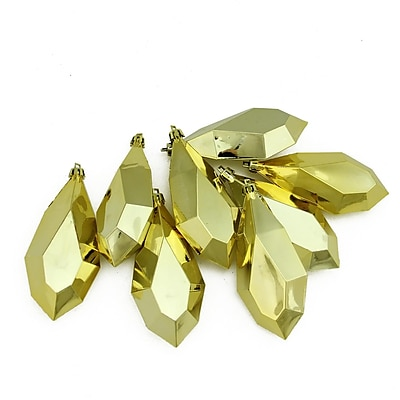 Northlight 8ct Shiny Gold Glamour Diamond Cut Shatterproof Christmas Drop Ornaments 4.75
