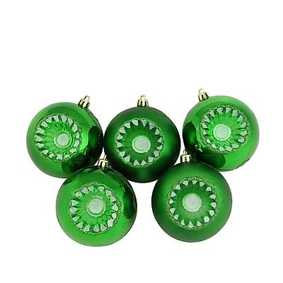 Northlight 5ct Shiny and Matte Xmas Green Retro Reflector Shatterproof Christmas Ball Ornaments 3.25