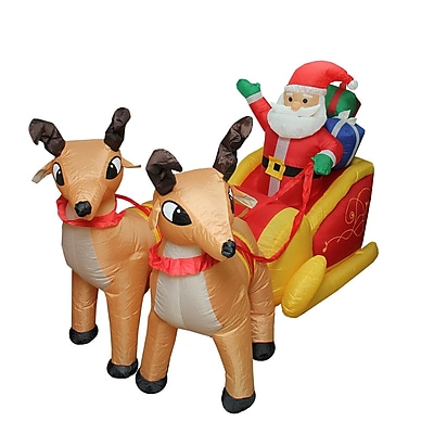 LB International 7' Inflatable Lighted Santa Claus and Sleigh Christmas Yard Art Decoration (32282572)
