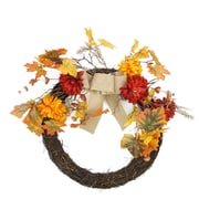 "Northlight 20"" Autumn Harvest Artificial Mixed Fall Leaf and Mum Flower Thanksgiving Twig Wreath - Unlit (31737194)"