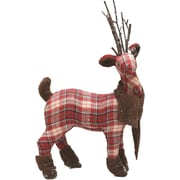 """Northlight 19.5"""" Red White and Green Plaid Reindeer with Brown Scarf Table Top Christmas Figure (32259326)"""