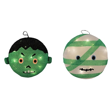 Northlight Set of 2 Battery Operated LED Lighted Mummy & Frankenstein Hanging Outdoor Halloween Decorations 14