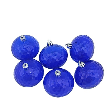 Northlight 6ct Lavish Blue Transparent Shatterproof Hammered Disco Ball Christmas Ornaments 2.5