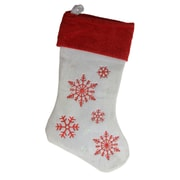 "Northlight 19"" Red and White Velvet Embroidered Snowflake Christmas Stocking (31755198)"