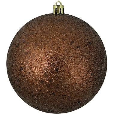 Northlight Mocha Brown Holographic Glitter Shatterproof Christmas Ball Ornament 4