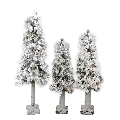 Northlight Set of 3 Flocked Woodland Alpine Artificial Christmas Trees 3' 4' and 5' - Unlit (32270786)