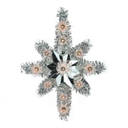 "Northlight 11"" Lighted Silver Tinsel Star of Bethlehem Christmas Tree Topper - Clear Lights (31576638)"
