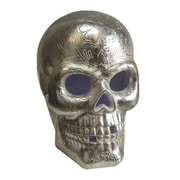 "Northlight 14"" LED Lighted Silver Metallic Day of the Dead Skull Halloween Decoration (32256715)"