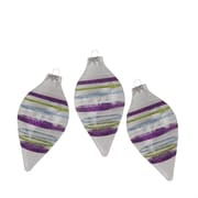 """Northlight 3ct Clear with Purple Green Blue and White Glitter Stripes Glass Finial Christmas Ornaments 5"""" (31734596)"""