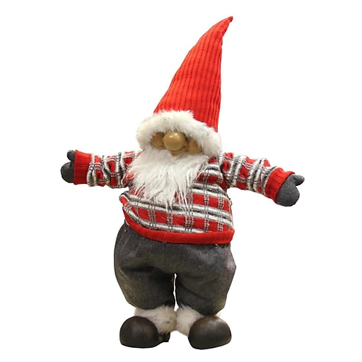 "Northlight 28"" Standing Santa Gnome with Red and Gray Sweater Christmas Decoration (31748801)"