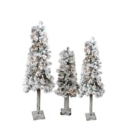Northlight Set of 3 Pre-Lit Flocked Woodland Alpine Artificial Christmas Trees 3' 4' and 5' - Clear Lights (32270785)