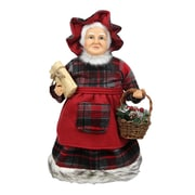 "Northlight 16"" Country Rustic Mrs. Claus in Red Checkered Dress Holding a Basket and Gift Christmas Figure (31734322)"