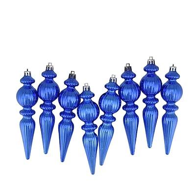Northlight 8ct Shiny Lavish Blue Ribbed Shatterproof Christmas Finial Ornaments 6.5