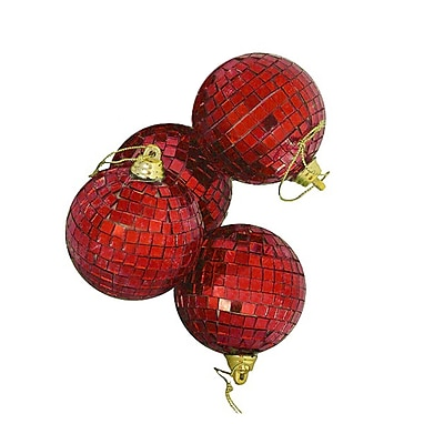 Northlight 4ct Red Hot Mirrored Glass Disco Ball Christmas Ornaments 4