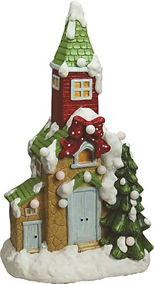 "Northlight 21.25"" Christmas Morning Pre-Lit LED Snow Covered Church Decorative Christmas Tabletop Figure (32260160)"