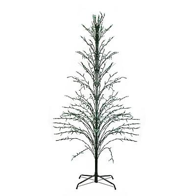 Northlight 9' Green Lighted Christmas Cascade Twig Tree Outdoor Yard Art Decoration - Green Lights (31736719)