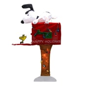 "Product Works 36"" Pre-Lit Peanuts Snoopy with Red Mailbox Animated Christmas Yard Art Decoration - Clear Lights (31742037)"
