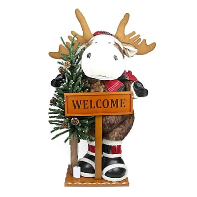 Northlight 3' Battery Operated Lighted Moose with Welcome Stick Christmas Figure on Wooden Base (31743635)