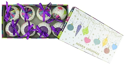 Northlight 8-Piece Purple and White Decoupage Shatterproof Christmas Ball Ornament Set 2.25