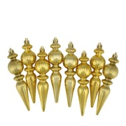 "Northlight 8ct Shiny Gold Ribbed Shatterproof Christmas Finial Ornaments 6.5"" (31731014)"