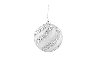 Northlight 3ct White and Silver Beaded and Glittered Confetti Shatterproof Christmas Ball Ornaments 3