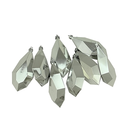 Northlight 8ct Shiny Silver Splendor Diamond Cut Shatterproof Christmas Drop Ornaments 4.75