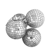 "Northlight 4ct Silver Splendor Mirrored Glass Disco Ball Christmas Ornaments 4"" (100mm) (31756420)"