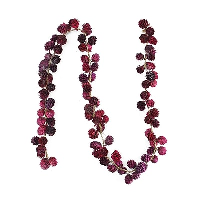 Northlight 5' Decorative Wine Burgundy Glitter Mini Pine Cone Artificial Christmas Garland - Unlit (31741318)