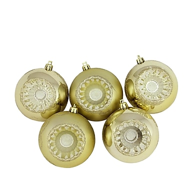 Northlight 5ct Shiny and Matte Champagne Retro Reflector Shatterproof Christmas Ball Ornaments 3.25