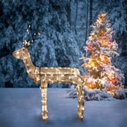 "Northlight 48"" 3-D Glitter Animated Standing Buck Reindeer Lighted Christmas Yard Art Decoration - Clear Lights (31758645)"