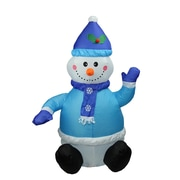 LB International 4' Inflatable Lighted Blue Snowman Christmas Yard Art Decoration (32282570)