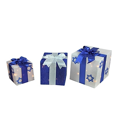 Northlight 3-Piece Lighted White and Blue Hanukkah Gift Box Christmas Yard Art Decoration Set (32282080)