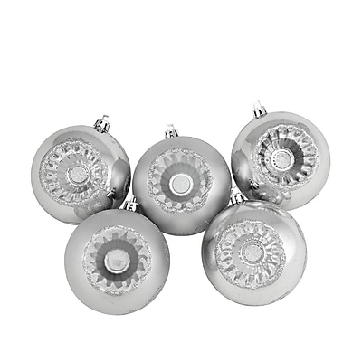 Northlight 5ct Shiny and Matte Silver Retro Reflector Shatterproof Christmas Ball Ornaments 3.25