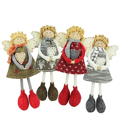 "Northlight Set of 4 Colorful Holiday Angel Sisters Standing Christmas Decorations 9"" (32261447)"