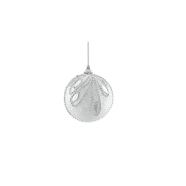 Northlight 3ct White and Silver Beaded and Glittered Shatterproof Christmas Ball Ornaments 3