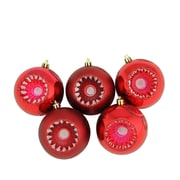 """Northlight 5ct Shiny and Matte Red Hot Retro Reflector Shatterproof Christmas Ball Ornaments 3.25"""" (80mm) (31754456)"""