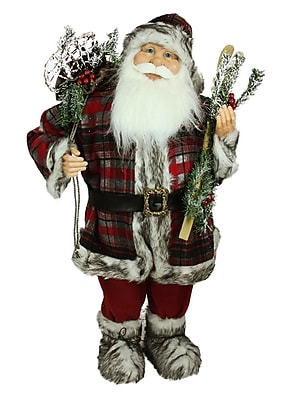 Northlight 3' Alpine Chic Standing Santa Claus with Frosted Pine Snowshoes and Skis Christmas Figure (31734402)