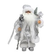 """Northlight 12"""" Elegant Standing Santa Claus Figure in Silver and White with Staff (32257205)"""