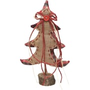 """Northlight 16"""" Burlap and Plaid Decorative Table Top Christmas Tree on Wooden Base (32259368)"""