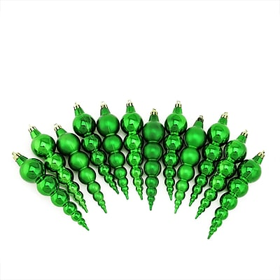 Northlight 12ct Shiny and Matte Xmas Green Finial Shatterproof Christmas Ornaments 6