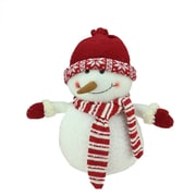 """Northlight 12.5"""" Ivory Red and White Chubby Smiling Snowman with Red Cap Plush Table Top Christmas Figure (31751571)"""