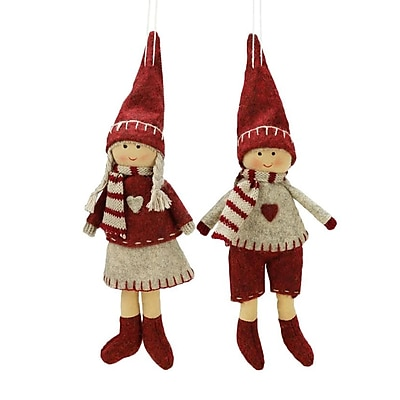 Northlight Set of 2 Light Gray and Red Boy and Girl Decorative Hanging Christmas Ornaments 5.5