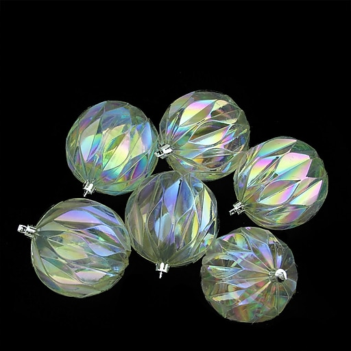 "Northlight 6ct Clear Iridescent Rhombus Cut Shatterproof Christmas Ball Ornaments 3"" (31757057)"
