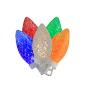 "Brite Star 100 Commercial Length Multi-Color LED Faceted C9 Christmas Lights on Spool 5"" Spacing - White Wire (31757700)"