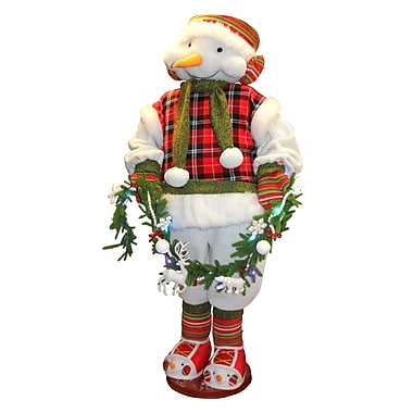 Northlight 5' Animated and Musical Snowman with Multi-Colored Lighted Garland Christmas Figure Decoration (31743114)