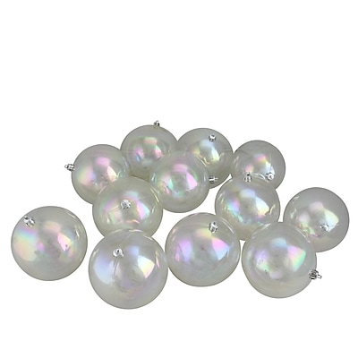 Northlight 12ct Shatterproof Clear Iridescent Christmas Ball Ornaments 4
