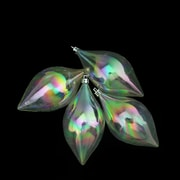 "Northlight 4ct Clear Iridescent Teardrop Shatterproof Christmas Finial Ornaments 5.25"" (130mm) (31757051)"