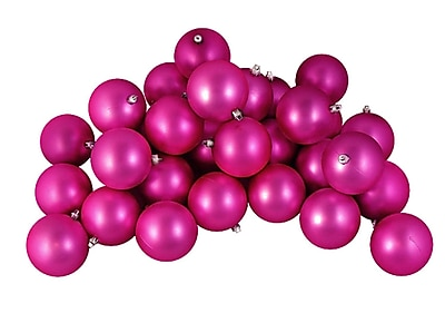 Northlight 12ct Matte Pink Magenta Shatterproof Christmas Ball Ornaments 4