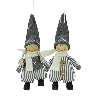 Northlight Set of 2 White and Gray Boy and Girl Decorative Hanging Christmas Ornaments 5.5