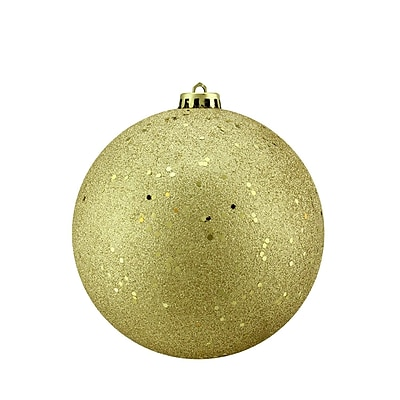 Northlight Gold Glamour Holographic Glitter Shatterproof Christmas Ball Ornament 6